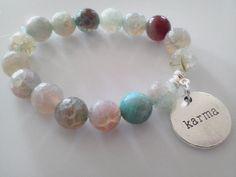 Karma Stretch Rare Agate Stone Bracelet