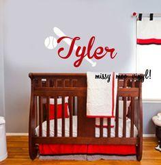 Vinyl Wall Decal Monogram Name Baseball Bat and Baseball Nursery Wall Decal Sticker Nursery Wall Decals, Wall Decal Sticker, Nursery Room, Nursery Decor, Bedroom, Baby Boy Rooms, Baby Boy Nurseries, Baby Room, Baseball Nursery