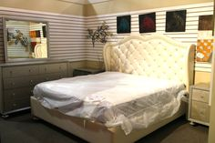 McFerran White & Rhinestone Eastern King Bedroom Set - Colleen's Classic Consignment, Las Vegas, NV - www.cccfurnishings.com