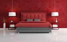 Attractive Red Bedroom Furniture Create Elegant View Around Modern Minimalist Unique Side Table