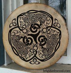 Tamburo di Bodhran lupo celtico - dipinte a mano
