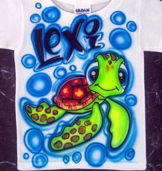 Airbrushed Turtle Squirt Design Custom T-shirt by TheDeQorator Airbrush Shirts, Painted Jackets, Airbrush Designs, Favorite Paint Colors, Custom T, Shirt Ideas, Turtle, Concept, Yoga