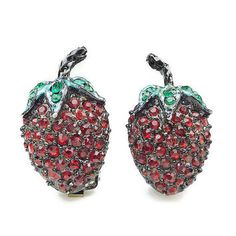 Strawberry Earrings, Unsigned Weiss, Rhinestone Jewelry, Red Green, Black Japanned, Clip On, Vintage Jewellery
