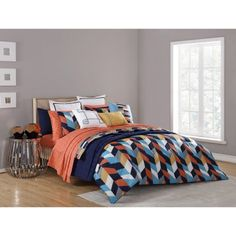 Add a pop of color to your bedroom décor with the Clairebella Geometric Reversible Comforter Set's lively print. The beautiful bedding is graced with a bright triangular motif and reverses to a striped pattern in rich indigo blue. Bed Linen Inspiration, Orange Rooms, Master Bedroom, Bedroom Decor, King Sheets, Bed Sheets, Teenage Room, Modern Vintage Homes, Bed Spreads