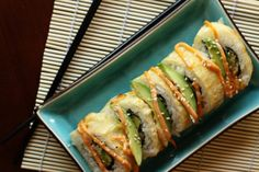 If you're afraid to try homemade sushi, try Godzilla Rolls. These tempura shrimp, avocado, and cream cheese rolls are super easy, and deep fried. #perfection