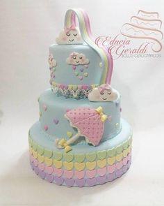 55 Ideas Baby Shower Cake Funny Kids For 2019 Beautiful Cakes, Amazing Cakes, Fondant Cakes, Cupcake Cakes, Cloud Cake, Carousel Cake, Rabbit Cake, Fake Cake, Party Decoration