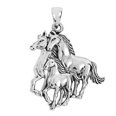 Silver Pendant For Mothers Day Perfect Gift Elegant Necklaces Wild Horses Family #AeraVida