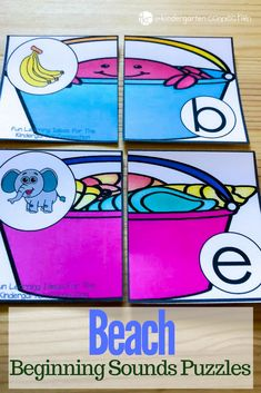 Grab these FREE Beach Beginning Sound Puzzles! Perfect for your summer-themed literacy center activity. Preschoolers and Kindergarteners will love it! #freeprintable #kindergarten #preschool #reading #thelettersofliteracy