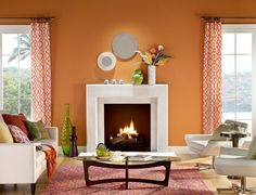 3) Orange: Balcony Sunset This warm orange brings us to a happy place. A vibrant orange like Balcony Sunset is both cozy and energizing. It's a trip around the world to an Amalfi sunset or a Delhi spice market, and it's a crackling fireplace near a comfy sofa. Bonus: warm colors like this one cast a flattering glow onto the skin. Your walls look good, and so do you.