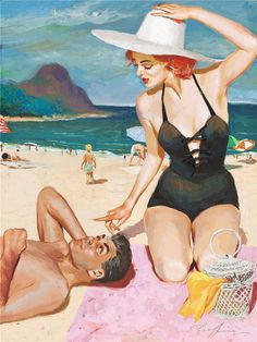 Couple on the Beach, art by Jim Schaeffing