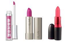 For dark skin tones:  Bare Escentuals Buxom Big & Healthy Lip Cream in Berry Blast, $18, available at Bare Escentuals.    For medium skin tones:  Ilia Lipstick in Neon Angel, $24, available at Ilia.    For light skin tones:  MAC Viva Glam Nicki's Lipstick, $14.50, available at MAC.