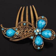 9K Yellow Gold Filled Women Blue Austrian Crystal Flower Hair Pin Comb Clip F020