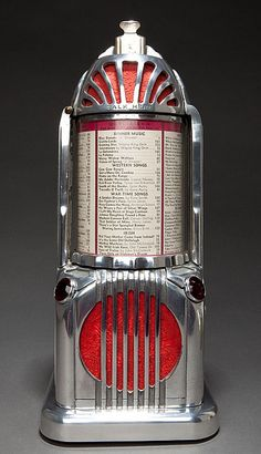 Seldom seen Art Deco Shyvers Multiphone Jukebox selector in cast aluminum which has a strong resemblance to the Empire State Building. The 1935 Shyvers Multiphone was invented by Ken Shyvers, who is also credited for inventing the pinball machine. The strong Art Deco architectural lines make for a stunning display item.