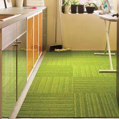 Buy striped Straight & Narrow - Lime carpet tile at FLOR Room Carpet, Carpet Tiles, Color Patterns, Color Schemes, Stick On Tiles, Kitchen Carpet, Style Tile, Basement Remodeling, Room Themes