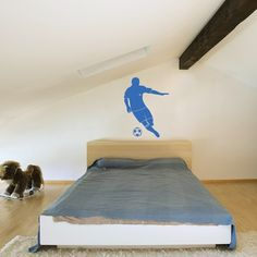 Make your kids' fantasies come true with these giant Soccer Player wall stickers. Simply peel and stick the modern kids' wall decal to transform your kids' room into a private Soccer field.$59.99
