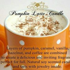 Our #PumpkinLatte #Candle smells amazing! Comes with your choice of #Jewelry!   Order yours at www.DiscoverJICWithKelsey.com