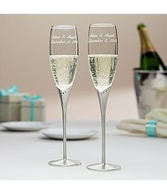 15th Anniversary Gift Celebrate With These Personalized Gl Flutes Crystals Satin Stems