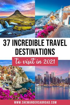 From lush tropical islands to majestic mountain ranges, breathtaking metropolises and fairytale small towns here are the top dream destinations in the world you need to add to your travel bucket list. | Once in a lifetime destinations | 2021 travel bucket list | Bucket list travel ideas | 2021 best destinations | Where to go in 2021 | Most beautiful places in the world | Best places to visit | 2021 holiday ideas | Incredible destinations to visit in 2021 | Dream destinations bucket lists Amazing Destinations, Travel Destinations, Travel Ideas, Travel Inspiration, Beautiful Dream, Beautiful Places In The World, Once In A Lifetime, Bucket Lists, Ranges
