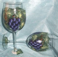 Hand Painted Wine Glasses by ABCraftsAndGifts on Etsy,