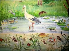 Painted picture with various pond living animals. Painting Art illustration by Tomatto. You may easily purchase this image as Guest without opening an account. Pond Animals, Early Childhood Centre, Chalkboard Drawings, Pond Life, Creative Kids, Art Images, Illustration Art, Clip Art, Pictures