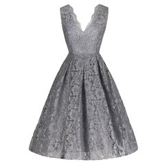 Stunning Silver Grey Lace Embroidered #Dress – Pretty Kitty Fashion #50s #1950s