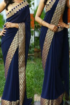 Buy Buy Gorgeous Navy Blue Georgette Replica Saree by undefined, on Paytm, Price: Simple Sarees, Trendy Sarees, Stylish Sarees, Saree Wearing Styles, Saree Styles, Fancy Sarees Party Wear, Saree Designs Party Wear, Navy Blue Saree, Bridesmaid Saree