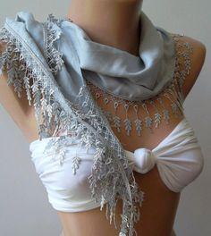ivory grey  elegance  shawl / scarf with lacy edge by womann, $16.00