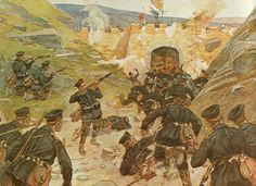 """Painting of German troops attacking a Boxer fortification during the China Relief Expedition """"Boxer Rebellion"""", 1898-1900."""