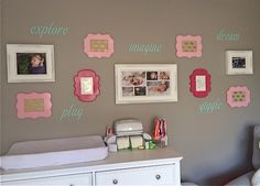 Spray Painted Frames for this Nursery Gallery Wall