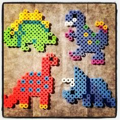 Dinosaurs perler beads by ashleyeglidewell