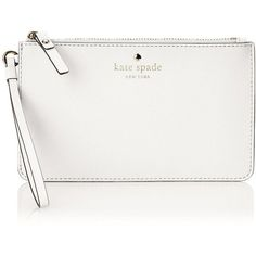 kate spade new york Cedar Street Slim Bee Wristlet ($68) ❤ liked on Polyvore featuring bags, handbags, clutches, kate spade, wristlet clutches, white wristlet purse, white purse and wristlet handbags