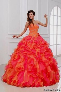 Cool quinceanera dresses pink and orange 2017-2018
