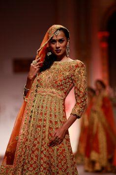 "Model walking on the ramp showcasing Preeti S Kapoor's ""Royal India"" bridal collection at the Amby Valley India Bridal Fashion Week. #Fashion #Style #Beauty #Bollywood"