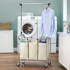 "Chrome Triple Laundry Sorter $110 30""W x 18""D x 66""H"