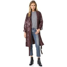3.1 Phillip Lim Long Utility Kimono Jacket (2.435 BRL) ❤ liked on Polyvore featuring outerwear, jackets, bordeaux, fleece-lined jackets, stitch jacket, long kimono, shiny jacket and 3.1 phillip lim