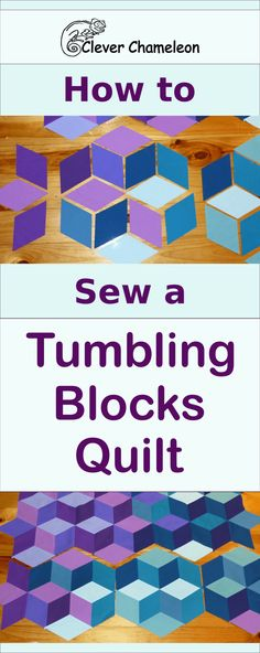 Have you ever wondered how to sew tumbling blocks together? This tutorial will step you through making your first tumbling blocks patchwork quilt top. Quilting Tips, Quilting Tutorials, Quilting Designs, Sewing Tutorials, Quilting Room, Quilt Design, Quilting Projects, Patchwork Tutorial, Tumbling Blocks Quilt