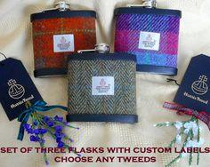 Best Man gifts Harris Tweed hip flasks set of three with personalised  labels usher groomsmen Scottish wedding groom made in Scotland   UK