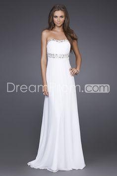 Charming A-line Floor-length Chiffon Beaded Neckline Strapless Evening Dresses