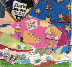 DARK CLOUD -   Original Fabric Collage // mybonny folk art