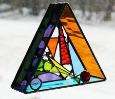 Original 3D freehanging Stained Glass Art Triangle by LAGlass, $45.00