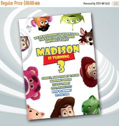 ON SALE 30% Toy Story Invitation  Toy Story by ticketparty on Etsy