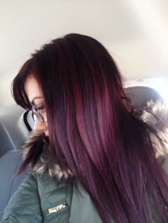 Dark brown violet hair with plum highlights