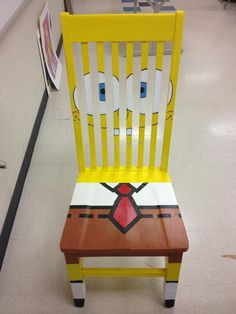 A fun little SpongeBob chair Hand Painted Chairs, Hand Painted Furniture, Funky Furniture, Kids Furniture, Bedroom Wall Designs, Bedroom Vintage, Cool Chairs, Spongebob, Wood Projects