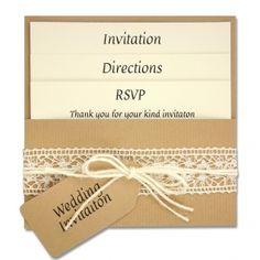 Open pocket rustic/shabby chic wedding invitation.