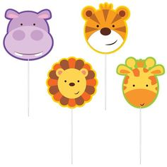 Animal Friends Pick Candles (Pack of Jungle Theme Parties, Jungle Party, Party Themes, Hippo Cake, Party Blowers, Mini Candles, Pennant Banners, Jungle Animals, Latex Balloons
