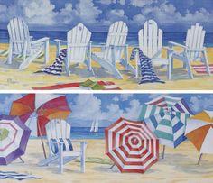 Front Row Seat & Umbrella Beach Coastal Decor Artwork, Paul Brent