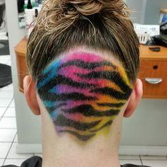 Pin for Later: Lisa Frank Hair Is the Ultimate Rainbow Hair Trend For Girls Pompadour Hairstyle, Undercut Hairstyles, Cool Hairstyles, Undercut Pattern, Badass Haircut, Low Fade Haircut, Hair Tattoos, Rainbow Hair, Rainbow Zebra