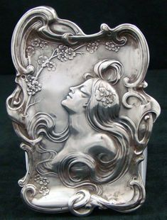 Unger Brothers sterling silver Art Nouveau card tray with woman