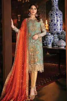 Aqua Juwel Embroidered Pakistani Wedding/ Party Wear Salwar Kameez - New - Designer Salwar Kameez, Pakistani Designer Suits, Pakistani Dress Design, Latest Pakistani Dresses, Pakistani Wedding Outfits, Pakistani Fashion Casual, Indian Dresses, Pakistani Clothing, Shadi Dresses