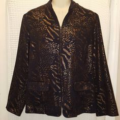 Alfred Dunner jacket size 8 Nice and warm elegant Alfred Dunner jacket size 8. Padded shoulders. 80% Polyester 20% Rayon. Gold and black.. Alfred Dunner Jackets & Coats